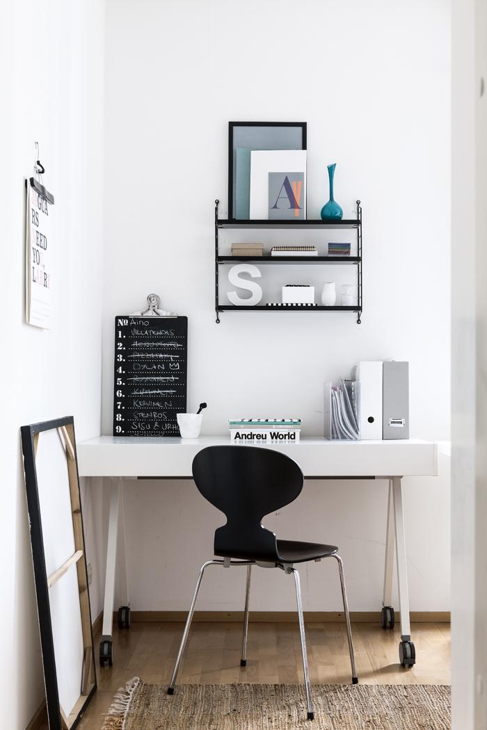 decoración, escandinavo, blanco, sencillez, minimalista, oficina, dekoloop